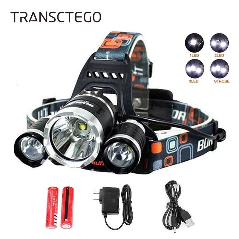 T6 LED Headlight Headlamp High Lumen Rechargeable Head Light Flashlight 18650 Waterproof Portable Fishing Hunting Torch Lights