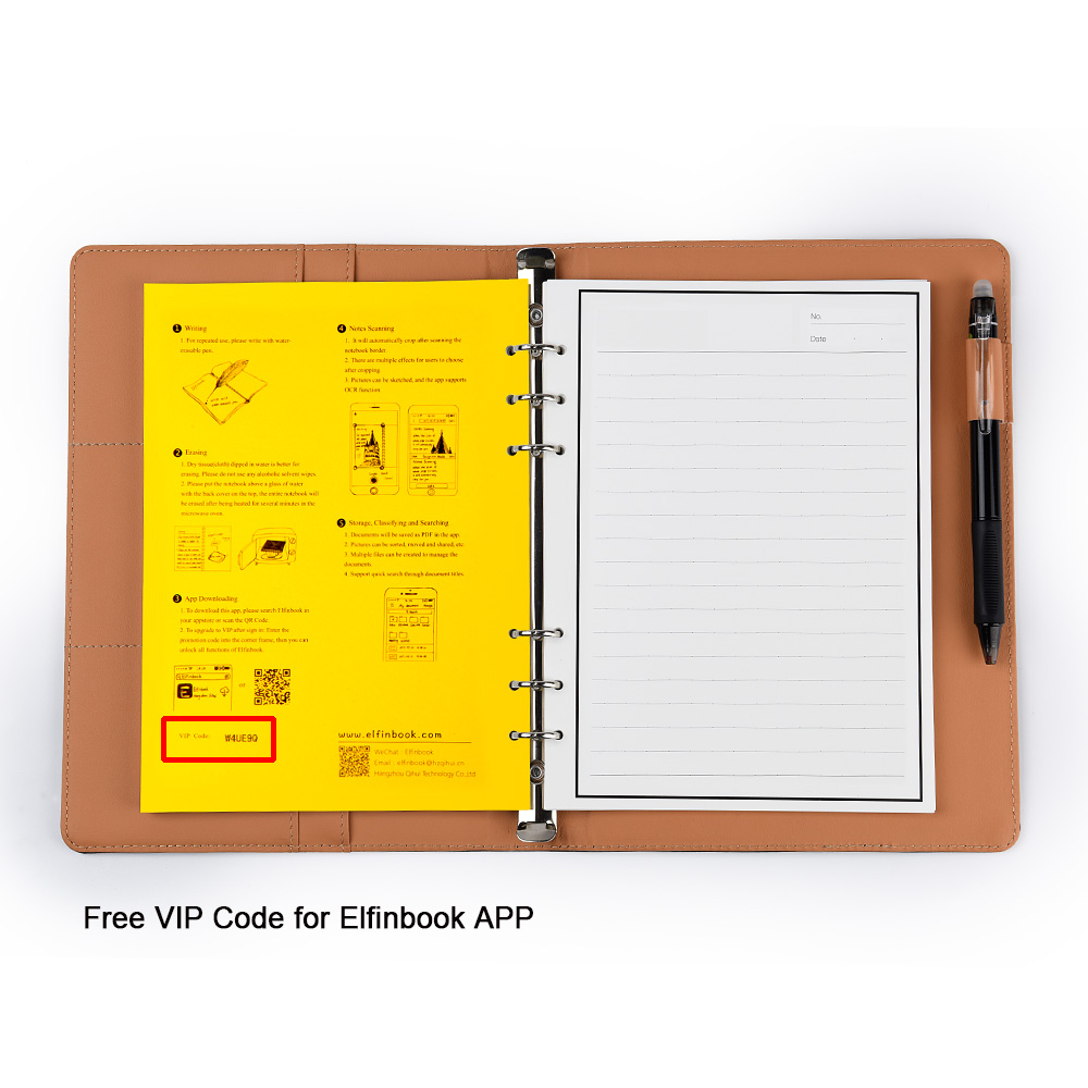 Elfinbook X Leather Erasable Smart Notebook With Pen Suitable For Kids And Students 4