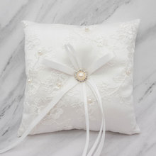 Ivory Lace Wedding Ring Pillow Holder 15x15cm/20x20cm Faux Pearl Bearer Cushion Marriage Ceremony Decoration With Ribbon