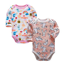 2PCS/LOT Cotton Baby Bodysuits Unisex Infant Jumpsuit Fashion Boys Girls Clothes Long Sleeve Newborn Clothing Set