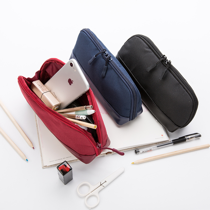 Pencil Case Large Capacity Pen Bag Makeup Pouch Durable Students Stationery With Double Zipper, 3 Colors Available big capacity high quality canvas shark double layers pen pencil holder makeup case bag for school student with combination coded lock