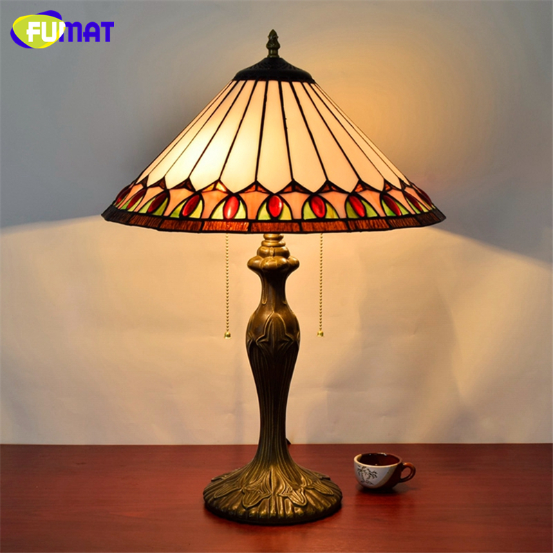 Commercial Table Lamps: FUMAR European Brief Vintage Stained Glass Living Room