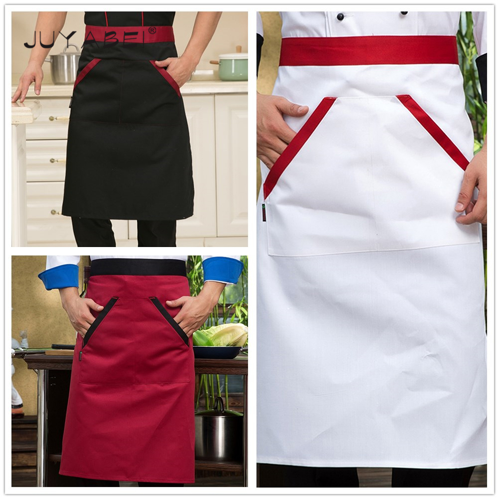 New Arrival Wholesale Patchwork Aprons With Pocket Black White Red Kitchen Restaurant Coffee Shop Bakery Sushi Workwear Apron