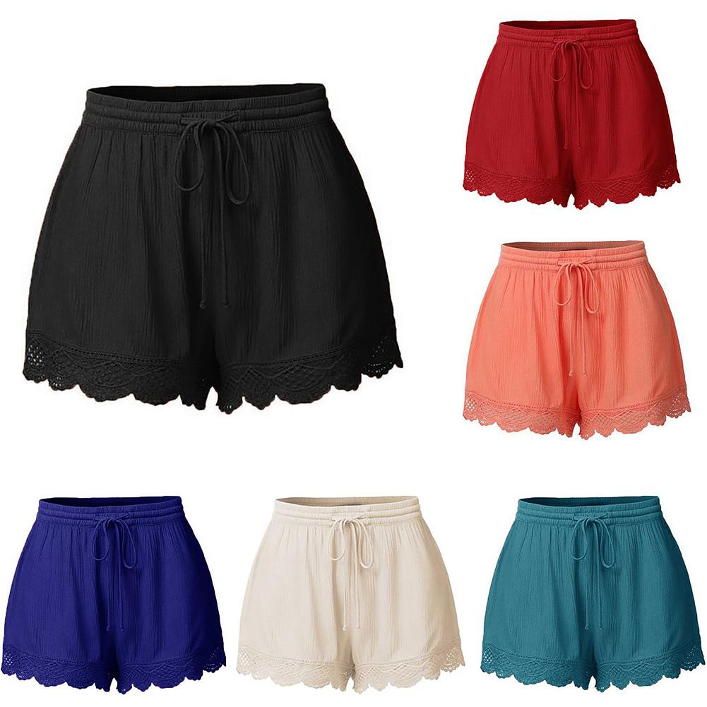 Summer Casual Fashion Solid Color Lace Drawstring Women's Loose Hot   Shorts   S-5XL