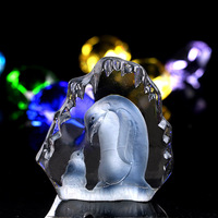 3 7 4 5 Inch Penguin Carving Crystal Glass Paperweight Elegant Gift Figurines Art Collection Crystal