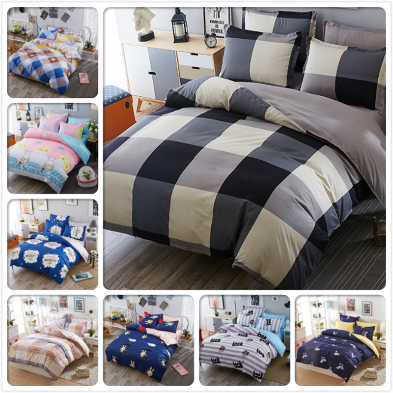 5 6 7 Feet Gray Plaid Duvet Cover Bedsheet Pillowcase 3 4 Pcs Bedding Set Full King Queen Double Size Kids Bed Linens In From Home