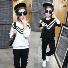 2016 autumn girls cotton long-sleeved suit solid color navy stripes sports casual pants two-piece sportwear kids tracksuit