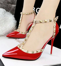 2016 European and American fine with sexy high-heeled shoes pointed metal rivets buckle shoes