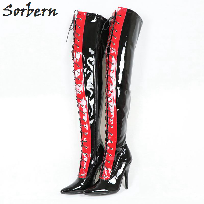 Sorbern Women Boots 12cm Heels Patent Leather Over The Knee Boots Pointed Toe Plus Size Ladies Party Boots Custom Color Sorbern Women Boots 12cm Heels Patent Leather Over The Knee Boots Pointed Toe Plus Size Ladies Party Boots Custom Color