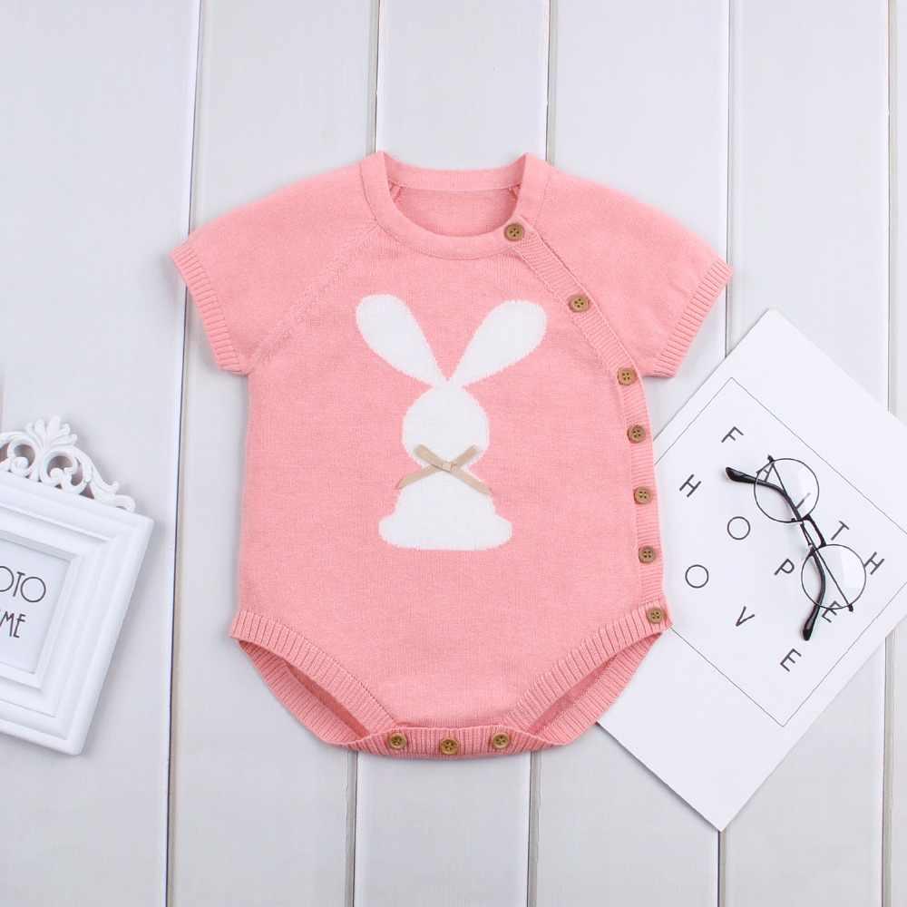 Bodis de bebé recién nacido Cuerpo de punto de conejo para niño niña prendas de vestir de verano pantalón corto Casual manga niño niños monos niños ropa