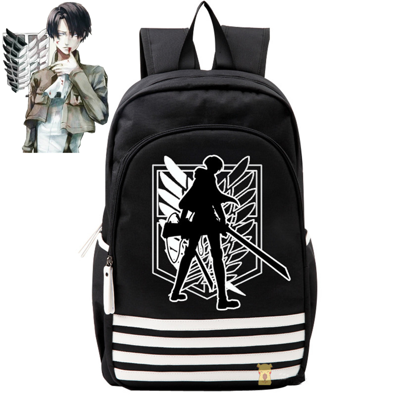 2017 New Arrival Anime Attack on Titan Levi Chief Luminous Printing Laptop font b Backpack b
