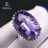 TBJ, Большой сверкающих натурально вырезать Бразилии хороший цвет чистой Аметист Драгоценное кольцо стерлингового серебра 925 пробы fine jewelry Ж