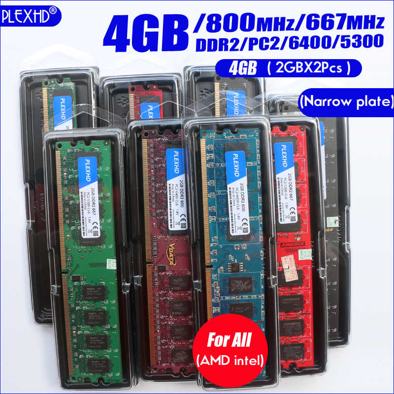 PLEXHD שולחן העבודה מחשב זיכרון RAM Memoria מודול DDR2 800 PC2 6400 4GB (2PCS * 2 GB) תואם DDR2 800 MHz/667 MHz