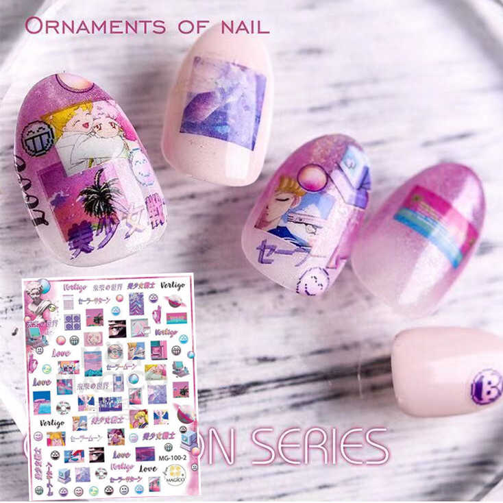 Mg Serie Meisje Ontwerpen MG-100-2 3d Nail Art Stickers Decal Template Diy Nail Tool Decoraties