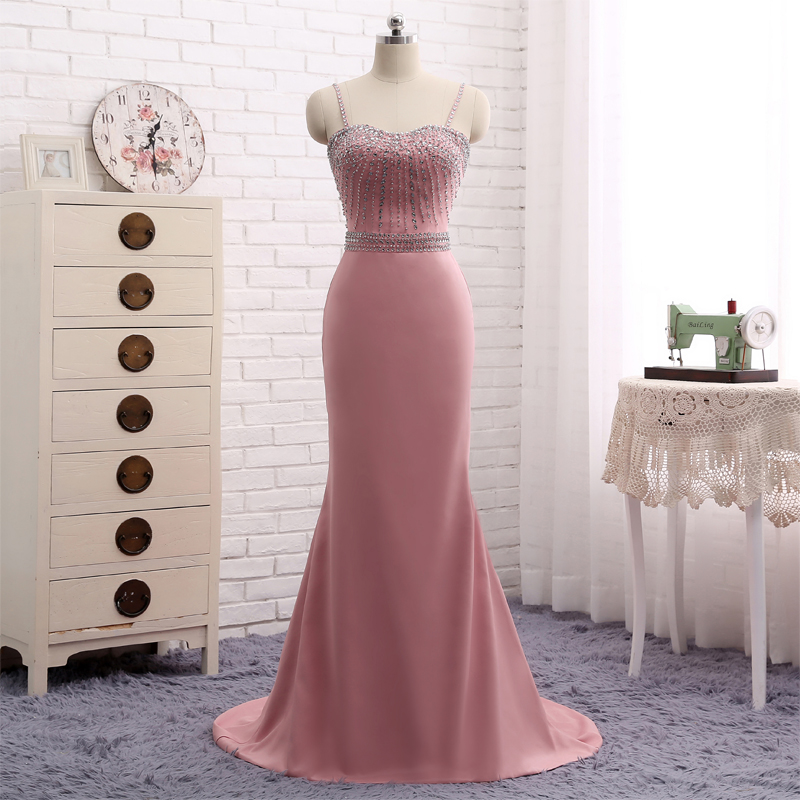 Pink Satin Evening Dress Sexy Spaghetti Strap Mermaid Evening Gowns Sweetheart Mermaid Beaded Beautiful Evening Party Dresses