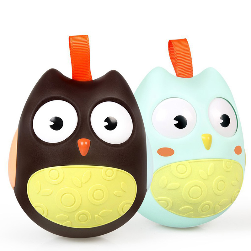Cute Baby Toys Nodding Moving Eyes Owl Doll ABS Baby Rattles Gifts Baby Roly Poly Tumbler Toy With Bell Toys For Children