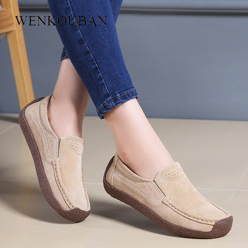 Spring Loafers Women Moccasins Shoes Genuine   leather   Flats Women Slip On   Suede   Shoes Casual Square Toe Flats Chaussure Femme