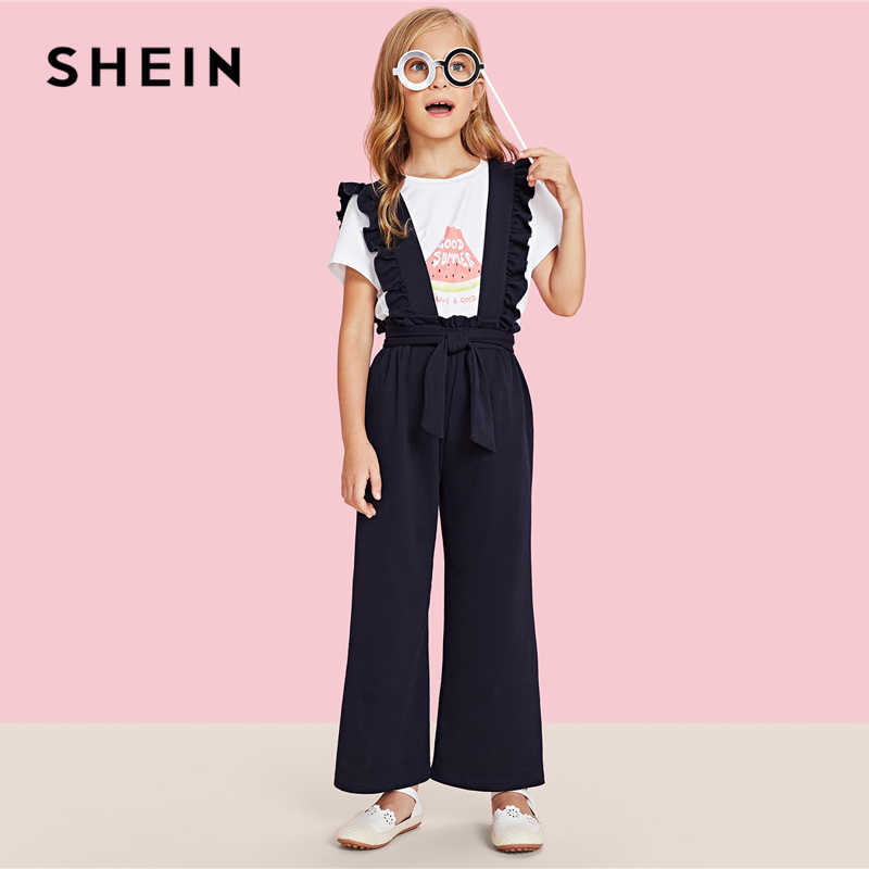 a42512ac8d ... SHEIN Girls Navy Solid Ruffle Strap And Waist Casual Overalls Kids  Jumpsuits 2019 Spring Fashion Sleeveless