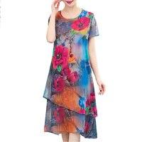 2019 New women summer dress casual o neck print Elegant Party silk Dresses short sleeve floral vestidos