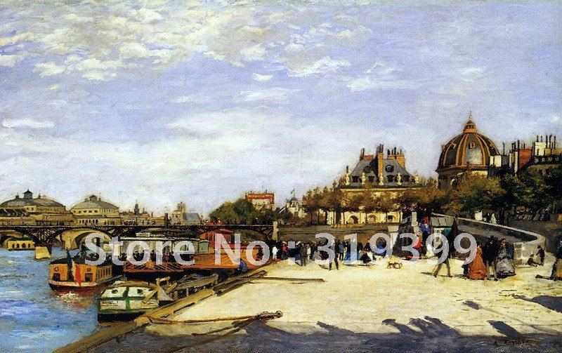100% handmade Oil Painting Reproduction on linen canvas,the pont des arts by pierre auguste renoir,Free DHL Shipping,Museum