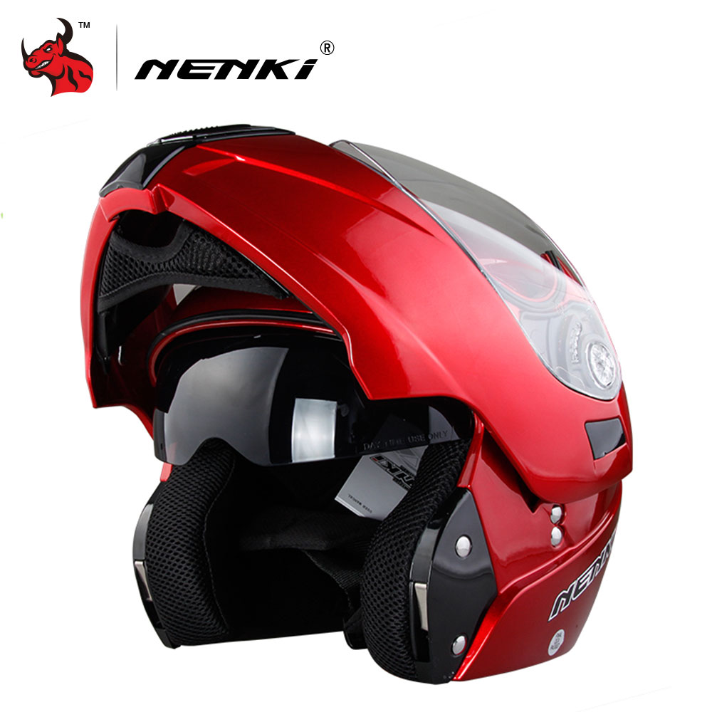 NENKI Motorcycle Helmet Double Lens Moto Helmet Flip Up Open Full Face Motorbike Helmet Motorcycle Racing