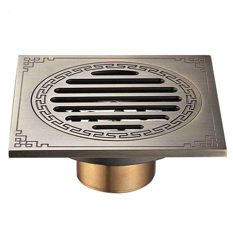 Waste Antique Floor Drain Brass Bathroom Accessory Euro Linear Shower Wire Strainer Carved Cover Drains Drain Strainers DR368 drains 12 12cm antique brass shower floor drain bathroom deodorant euro square floor drain strainer cover grate waste hj 8702s