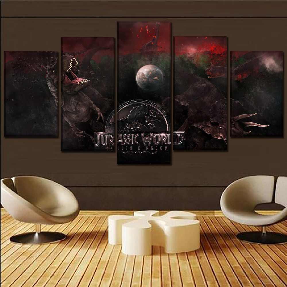 Tela HD Impresso Imagem Modular Da Parede Art Home Decorativa Um Conjunto de 5 Peças Pintura Movie Poster Mundo Jurássico Caído Reino