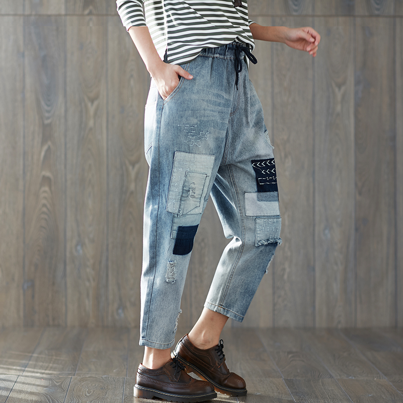 Spring New Boyfriend   Jeans   Harem Pants Women Trousers 2018 Vintage Loose Patch Ripped Denim Pants High Waist Casual   Jeans   XXL