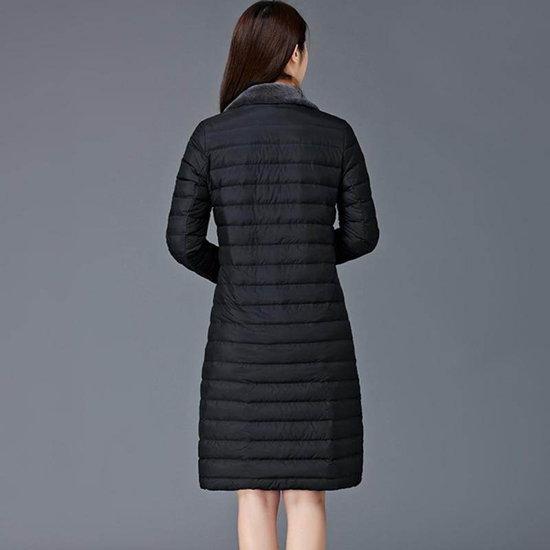 New Light Thin Down Coat Women 90% White Duck Down Long Slim Jacket Autumn Winter Outwear Parkas Lady Fashion Jacket Coat FP0158