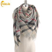 POBING Za Winter Scarf Women 2017 Cashmere Tartan Plaid Scarves New Designer Unisex Basic Acrylic
