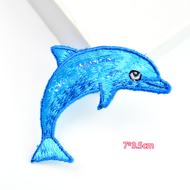 1 Pc Blue Color Fish Patch Embroidery Cloth Stickers Dolphin Patches Diy Children Dress Handbag Accessories In From Home Garden On