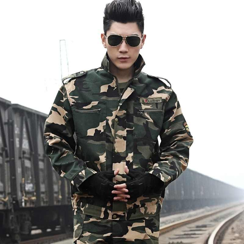 ชายทหารยุทธวิธี Camouflage ชุดชายชุดรบพิเศษชายเสื้อ + กางเกงชุดล่าสัตว์เสื้อผ้า
