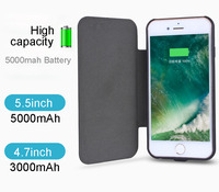 Luxury 5000mah powerbank Solar Panel Power Case For iPhone 8 7 5.5inch Battery Backup Charger Cover for iphone6 7 8plus