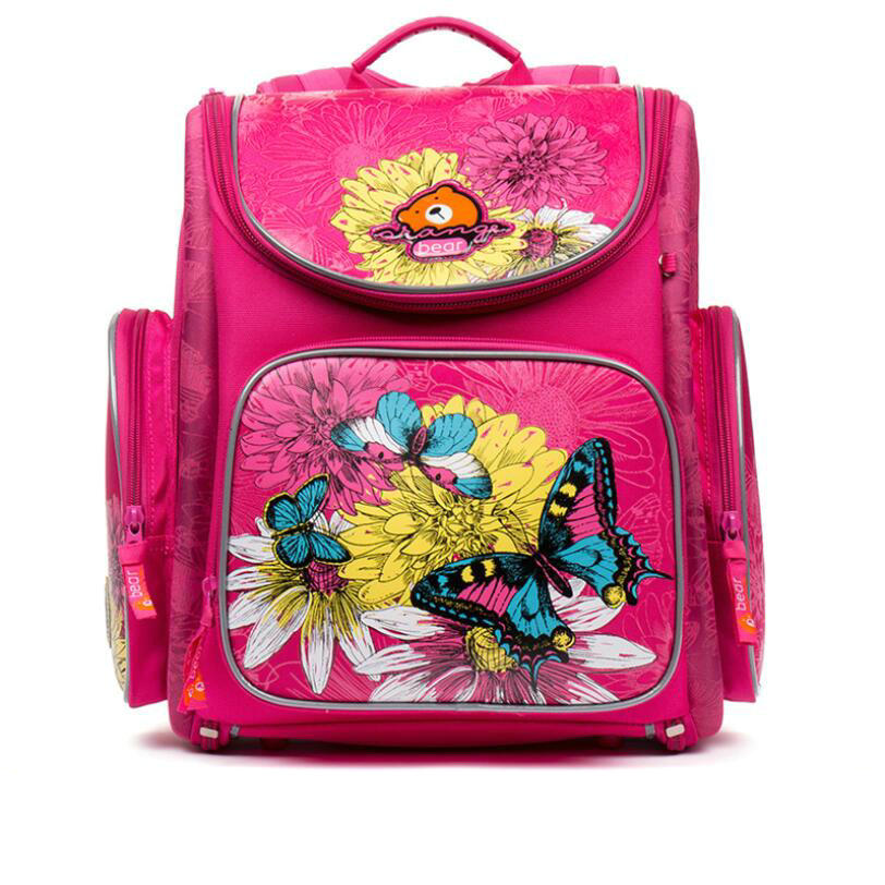 Russian Grizzly Children School Bags Girls 3D Flower Print Nylon Orthopedic Backpack School Portfolio Schoolbag Mochila Escolar
