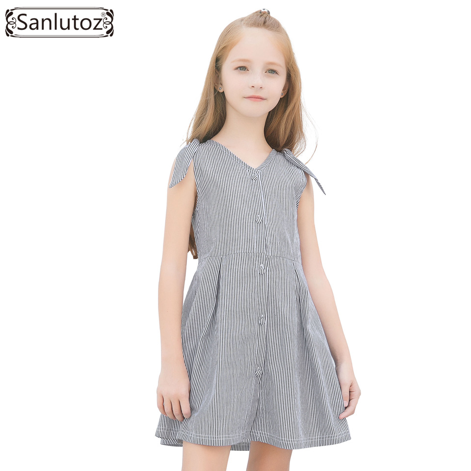 Sanlutoz Girls Dress Summer 2018 Cotton Children Dress Sleeveless Kids Dress for Girls Clothes Casual Brand New Stripe new girls dress brand summer clothes ice cream print costumes sleeveless kids clothing cute children vest dress princess dress