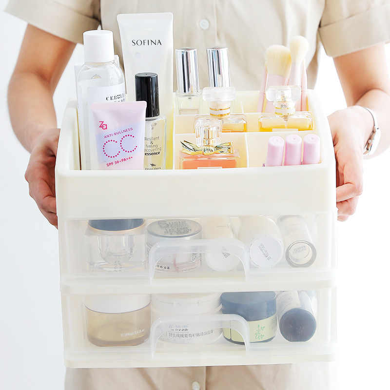 化粧オーガナイザー引き出しプラスチック化粧品収納ボックスメイクアップケース化粧ブラシホルダー主催 H1187
