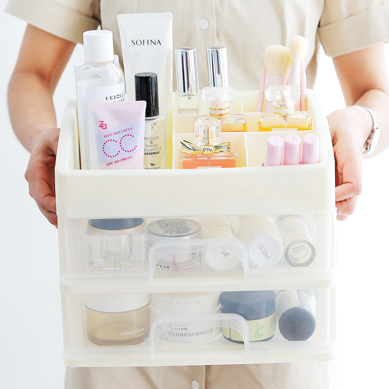 Plastic Cosmetic Storage Box to Organize Makeup with Drawers for Dressing Table of Women 3