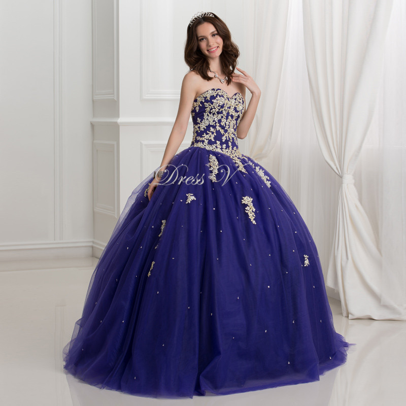 Aliexpress.com : Buy Dressv Dark Royal Blue Ball Gown Quinceanera ...