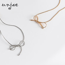 Bow neck chain short necklace clavicle Korean version of thin collar girls neck chain simple personality neck band(China)