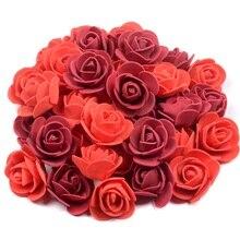 100 Uds 3,5 cm rosa de espuma artificial cabezas de flor para DIY guirnalda casa decoración boda barato falsa flor accesorios hechos a mano
