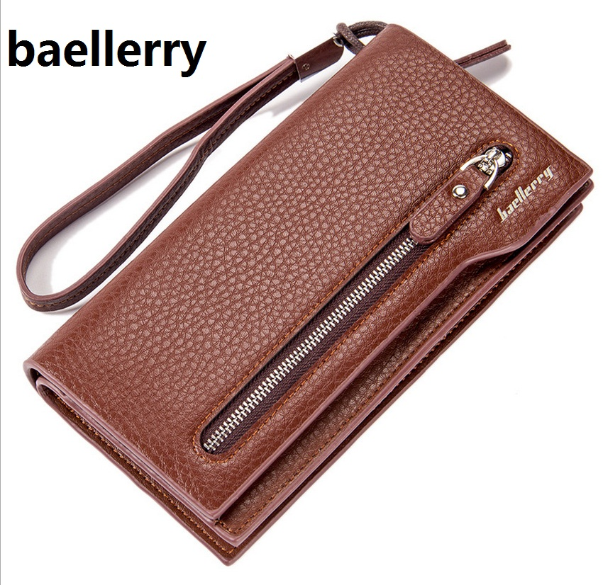 New Casual Split Leather Men Wallets Coin Purses Brand Business Men's Long Zipper Mobile phone bags Wallet clutches 2015007 2016 famous brand new men business brown black clutch wallets bags male real leather high capacity long wallet purses handy bags