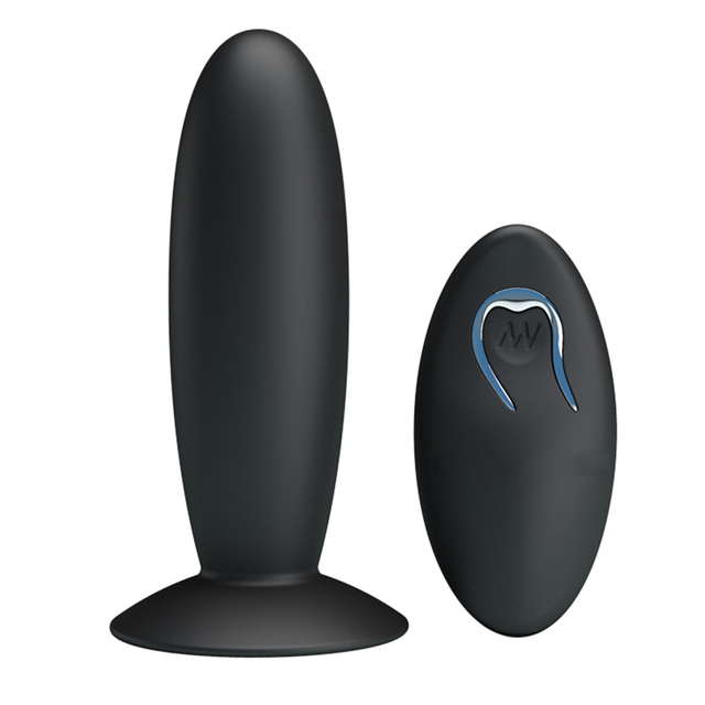 PRETTY LOVE Remote Control Silicone Anal Vibrator Black Suction Cup USB  Rechargeable Anal Plug Vibrator Sex