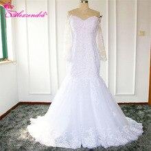 Alexzendra Mermaid Wedding Dresses Long Sleeves Bride Dress