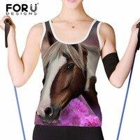 FORUDESIGNS Summer Short Sleeved Women Tank Tops Veste Femme 3D Horse Animal Woman Fitness Crop Top