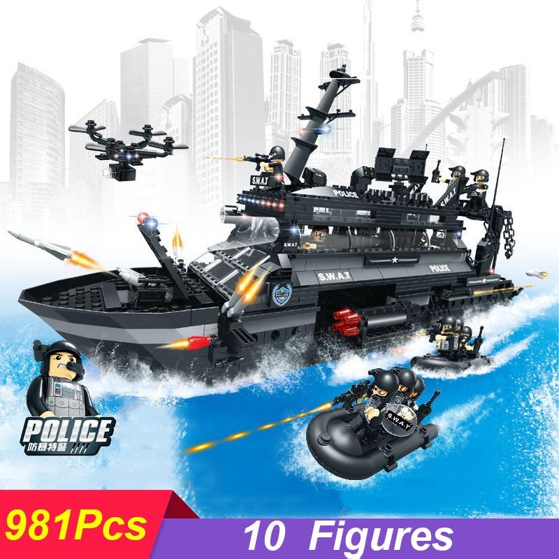 цена на 981Pcs Police Series Chinese Sturgeon Swat Command Ship Model 0546 Building Blocks Bricks Set Toys Compatible Legoings Kid Gift