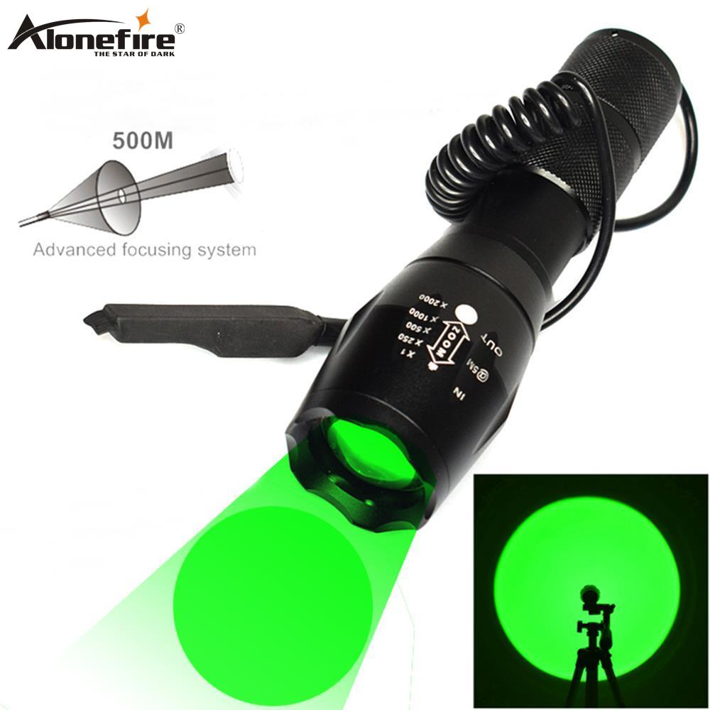 AloneFire E17 Green LED Light Tactical Flashlight Zoomable Spot Flood Light Torch Hunting Lamp with Pressure Switch