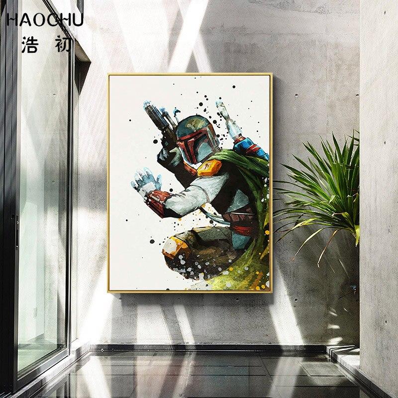 Haochu anime desenhos animados pintura em tela posters branco soldado guerreiro preto bobo fett personagem crianças quarto decoração fotos