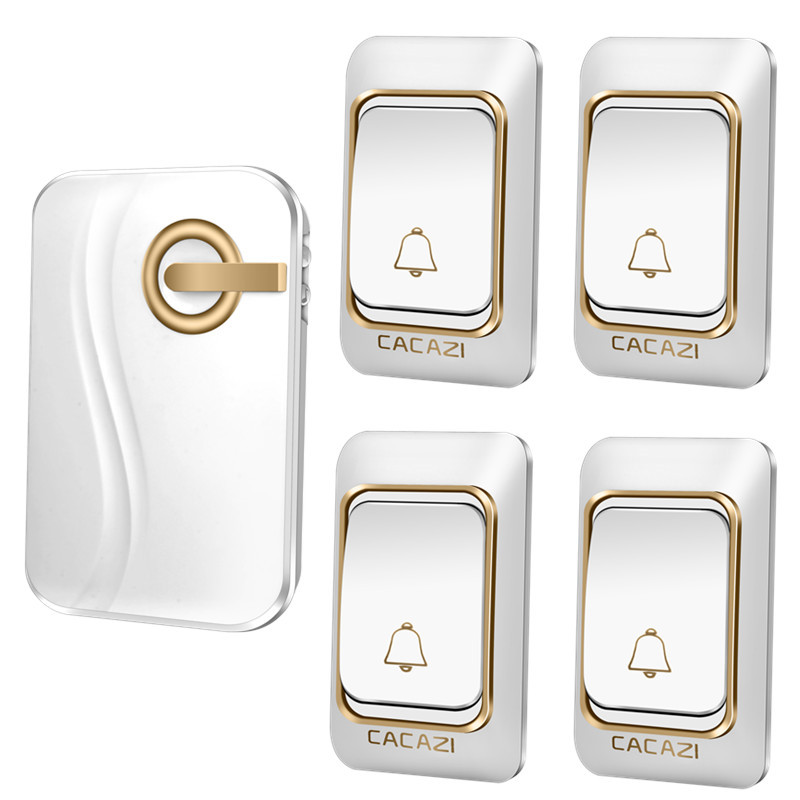 CACAZI Wireless Doorbell DC battery-operated 200M remote Door bell waterproof 4 transmitters 1 receiver 36 rings door chime  cacazi dc wireless doorbell need battery 150m remote waterproof gate door bell chime ring wireless 36 tunes 1 emitter 2 receiver