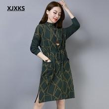 8ee2fc1b56f7 XJXKS Jovens senhoras de lã e cashmere malha mulheres sashes vestido  elegante de alta qualidade bolsos