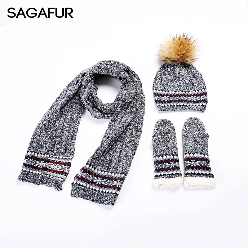 Winter Warm Glove Scarf Bonnet Hat Set Wool Blends Beanies For Girls Real Fur Pompom Cap Women's 2018 New Outdoor Knitted Hats